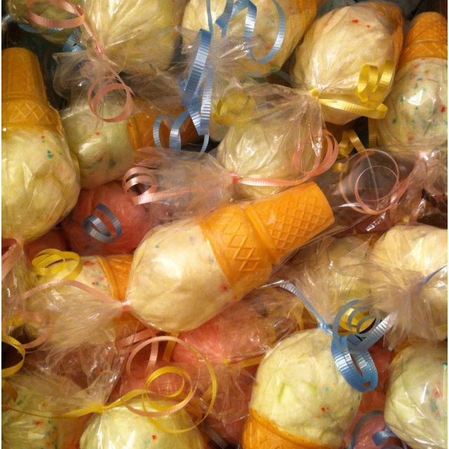 Cotton candy ice cream favors for Joy by Tiki Sweetz!