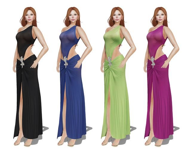 b638a8207f Second Life Marketplace - MI Rigged Mesh One Shoulder Prom Dress ...