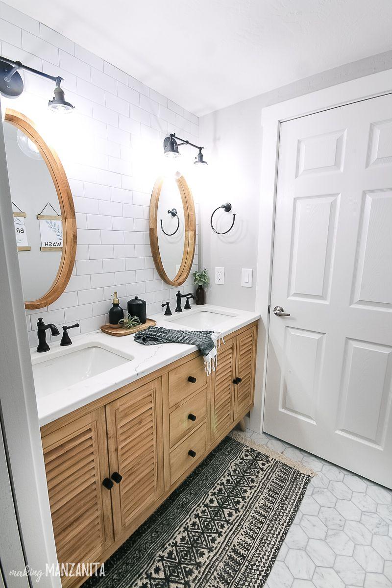 Modern Boho Farmhouse Bathroom Reveal   Making Manzanita   Modern ...