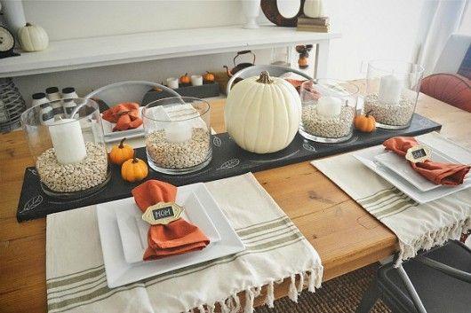 Fall Table Settings   Chalkboard Table Runner