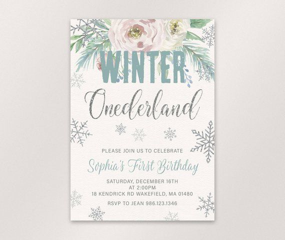 Winter Onederland Invitation First Birthday Invitation One Birthday
