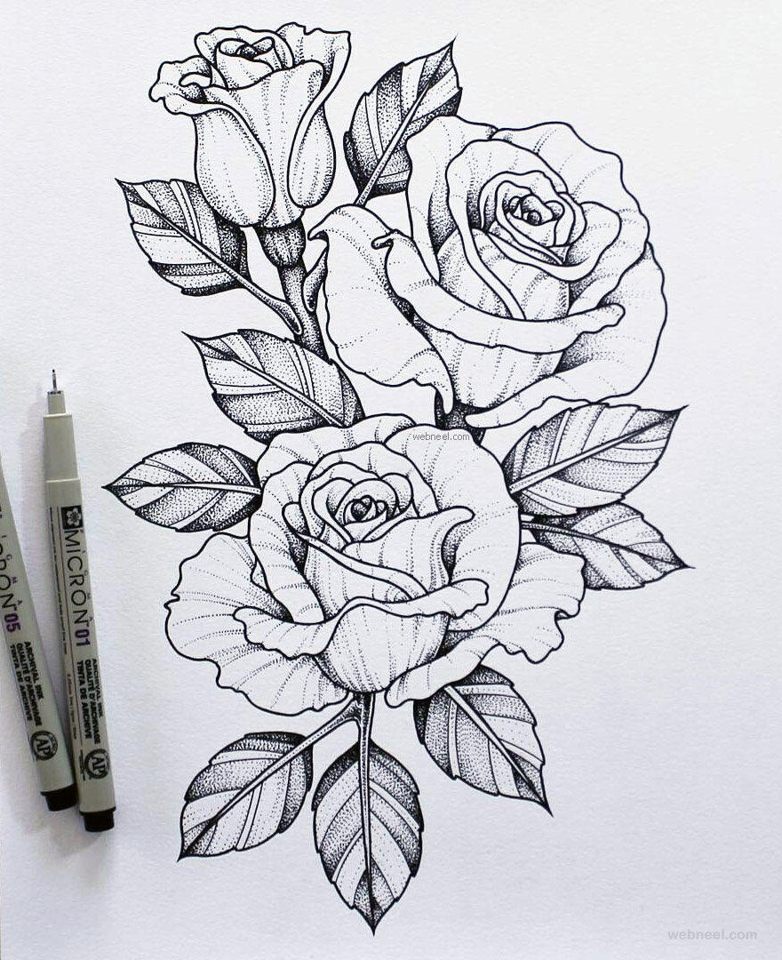 Flower Drawing Rose Steemit In 2020 Flower Tattoo Drawings Flower Art Drawing Pencil Drawings Of Flowers