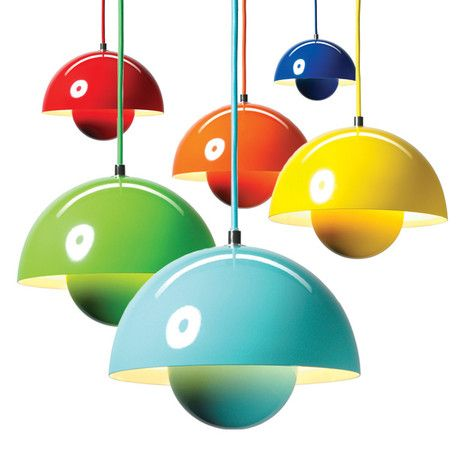 I Love These Pendant Lights From Verner Panton Such Fun Colors One Day Will Design A Kitchen That Is Neutral With Pop Of Color