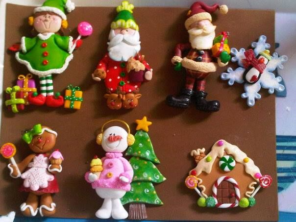 Assortment Of Christmas Figures Sg Navidad De Arcilla Polimérica Porcelana Fría Navidad Adornos De Arcilla Polimérica