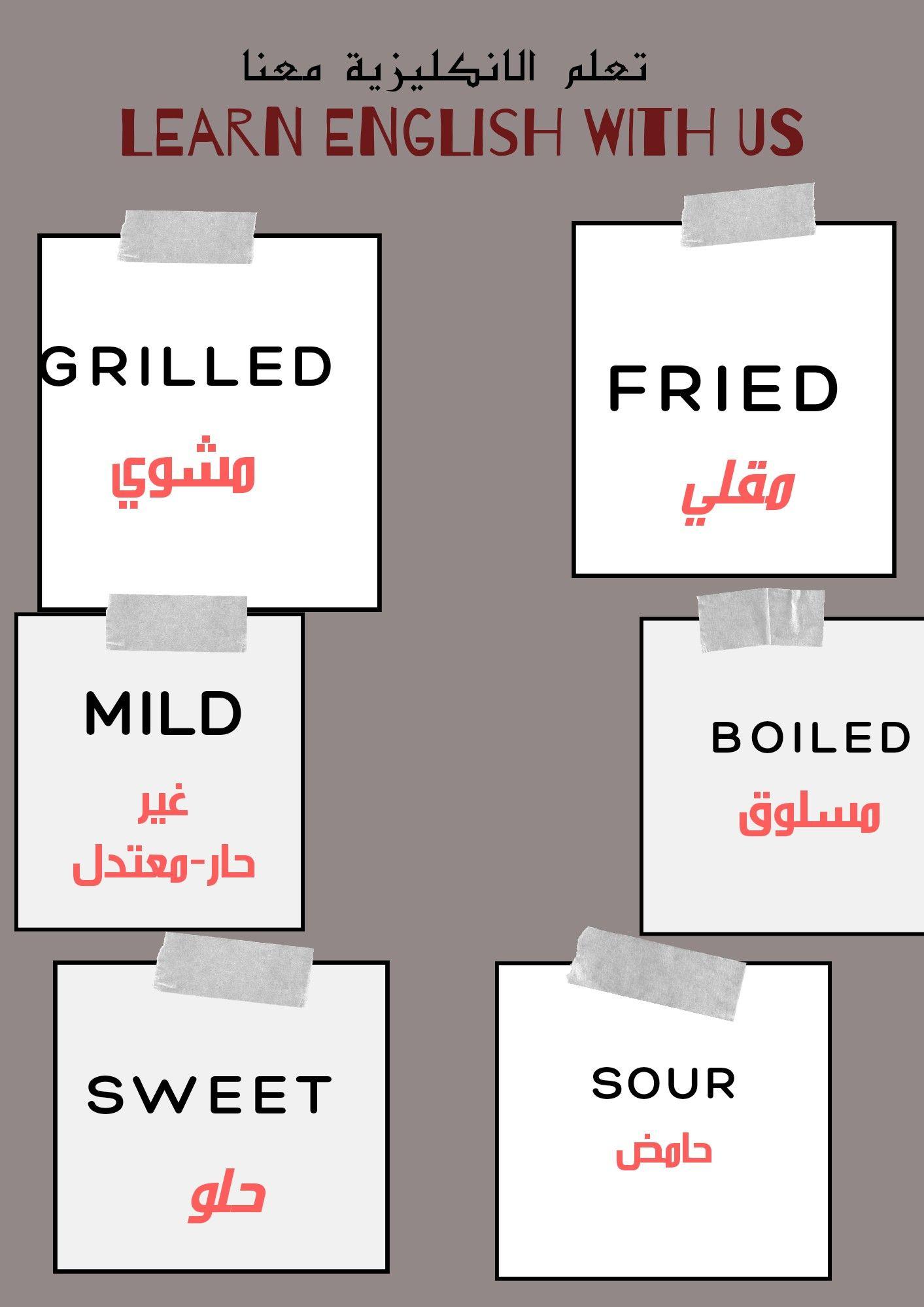 كلمات مهمة تحتاجها في المطعم Learn English Learn English Vocabulary English Words