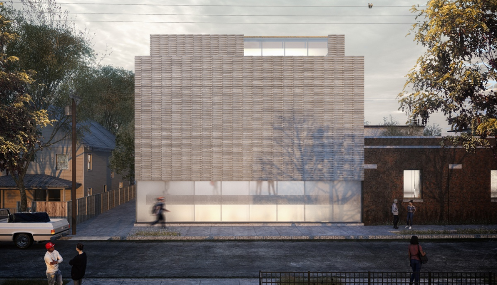 The New Addition S Facade Is Composed Of Glass And Staggered Gray Brick Creating A Clear Distinction Between Old And New Translucent Glass Grey Brick Facade