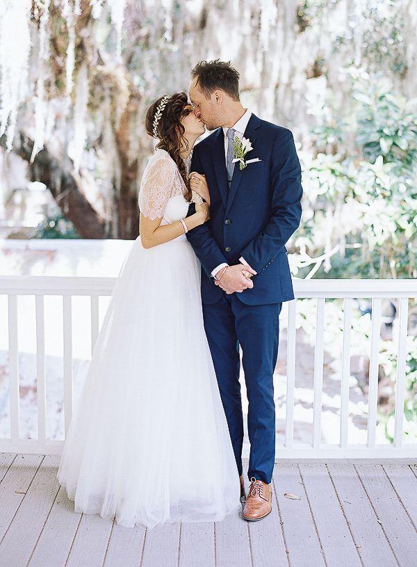 Heartfelt Florida Wedding by Brandon Chesbro | Navy suit groom ...