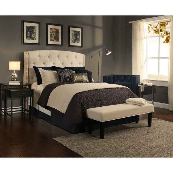 Republic Design House Peyton Ivory Tufted Upholstered Headboard Bench Collection Queen Full And Complete Set Beige Off White