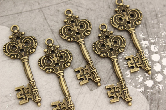10 pcs Antique Brass Double sided skeleton Key by PineappleSupply, $5.99