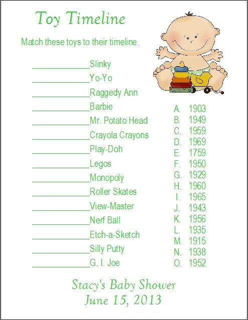 24 Personalized Toy Timeline Baby Shower Game Baby Shower Games