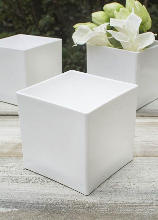 Square Vase 4 In X 4 In Plastic Floral White Event Pack Of 24