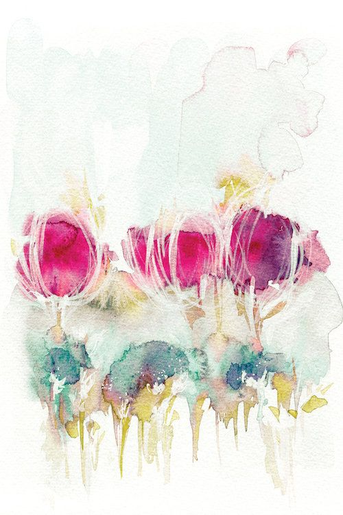 Spring In The Air Canvas Art By Lesia Binkin Watercolor Flowers
