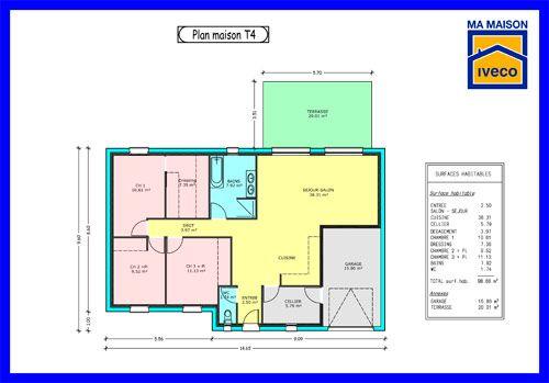 Plan-maison-T4jpg (500×349) plan maison 1 Pinterest - plans de maison gratuit plain pied