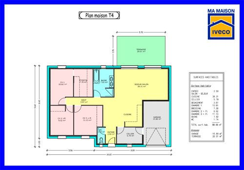 Plan-maison-T4jpg (500×349) plan maison 1 Pinterest