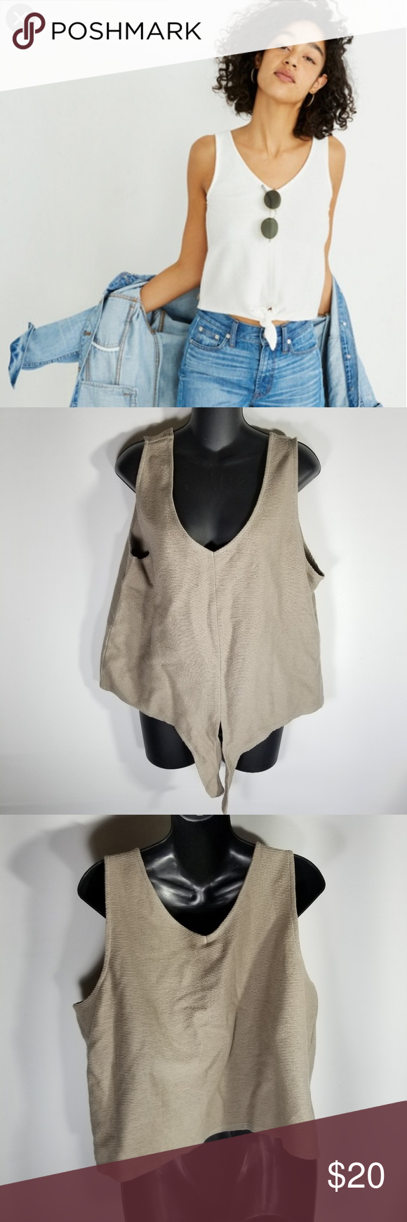 c005001f879 Madewell Texture   Thread Tie Front Tank Top Plus New with tags but has a  red mark in the front. Size XXL. Color is tan. Madewell Tops Tank Tops