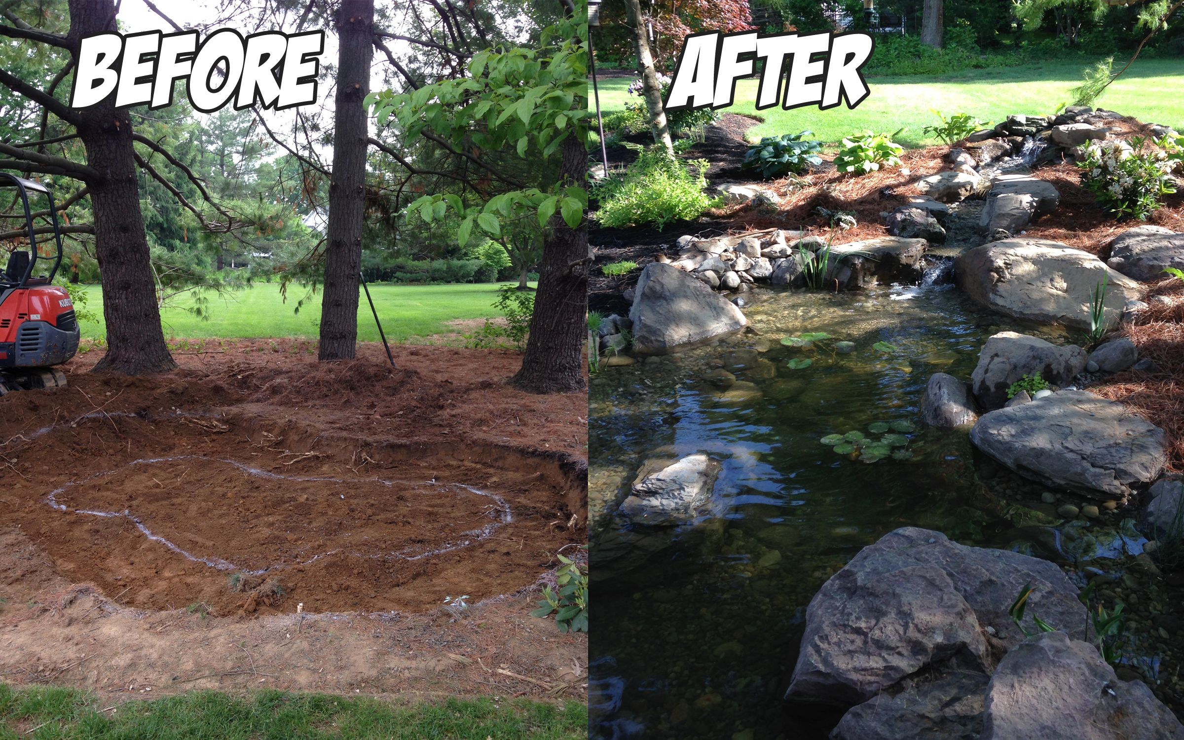 Pond build before after water features pond for Building a fountain pond