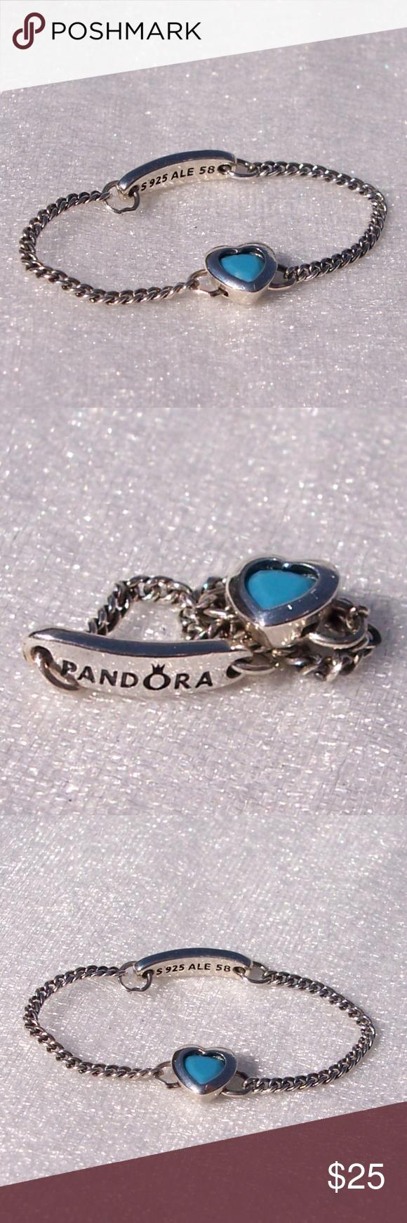 57062df65 PANDORA Ring Spirited Heart Blue Crystal Sterling A NEW Pandora Spirited  Heart Blue Crystal sterling silver cyan chain ring. Pandora Jewelry Rings