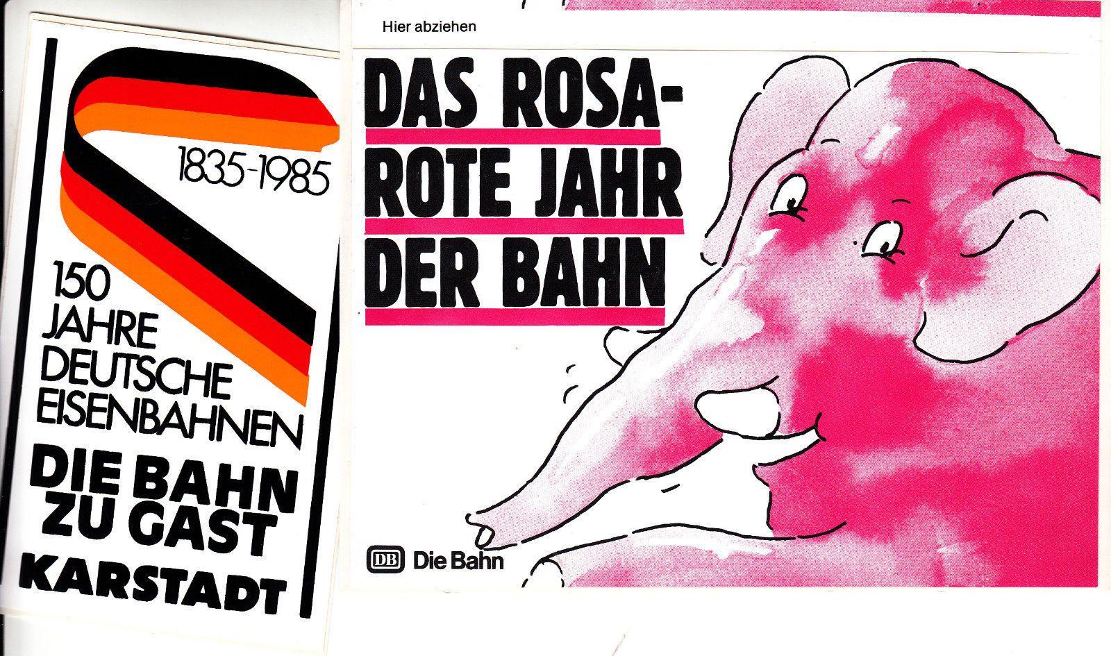 Deutsche Bundes Bahn Werbung 70er 2x Alter Aufkleber