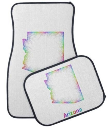 Rainbow Arizona map Car Mat $87.25 *** arizona - map - arizona map - usa - arizona state - rainbow - state - art - az map - phoenix - multicolored - outline - colors - design - map art - colorful - color map - curves - state map - boundary - arizona state map - car floor mat