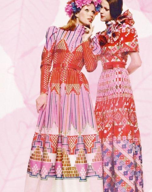 70's printed maxi dress / floral and geometric pattern hippie dress / 1970 long dresses by Skomoroki