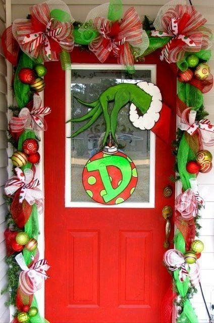 grinch wreath and garlands and ribbons christmas door decoration ideas best christmas door decoration ideas 2015 ms