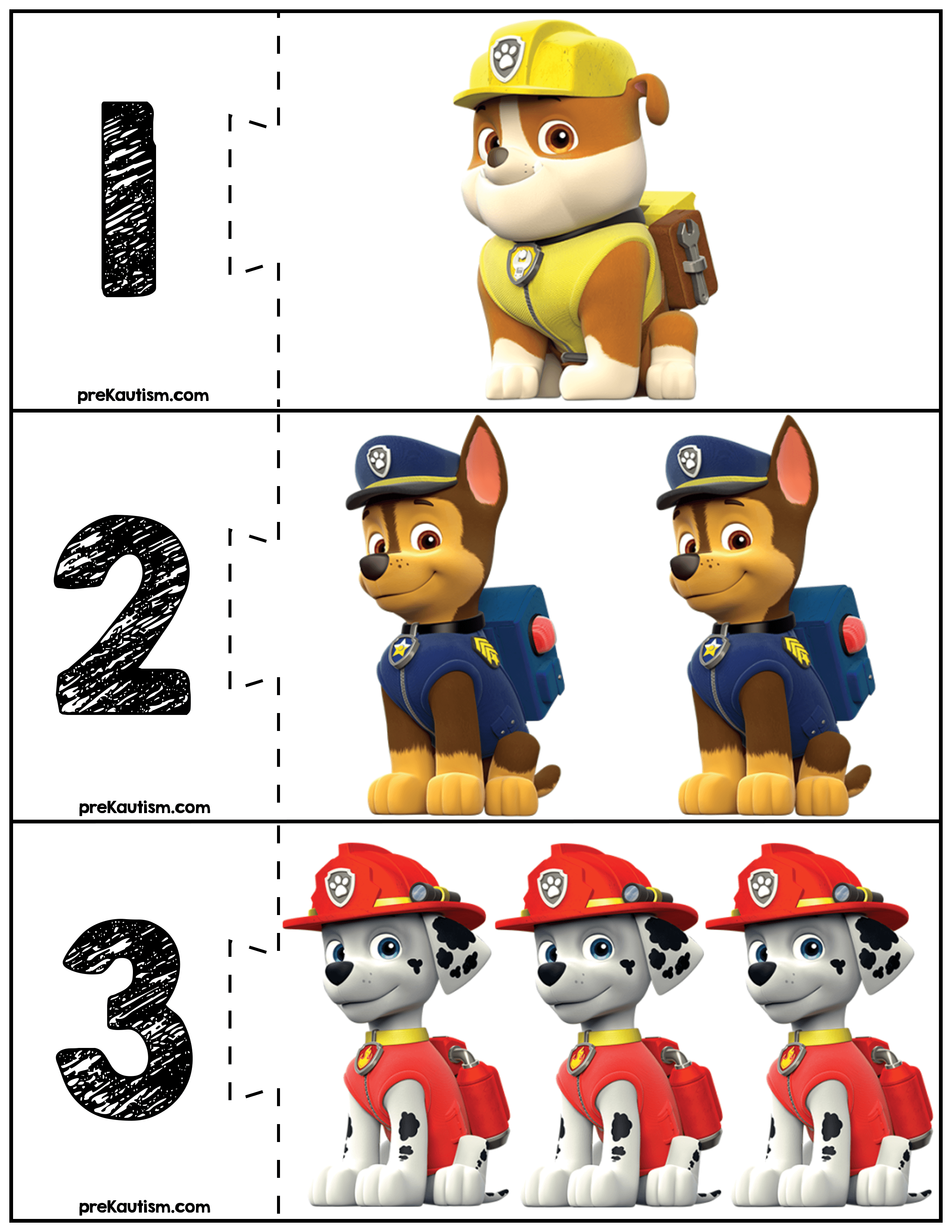 Free Paw Patrol Quantity Puzzles With Images