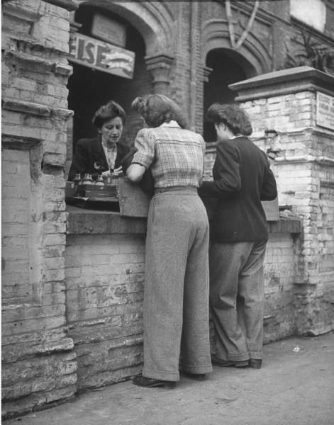 Post War Fashion Today 40s Fashion: Found Photo Women On Street In Pants 40s Shirt Jacket Hair