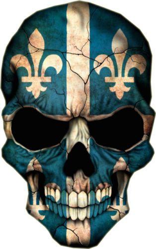 Quebec flag skull truck car bumper window vinyl decal sticker nordiques canada