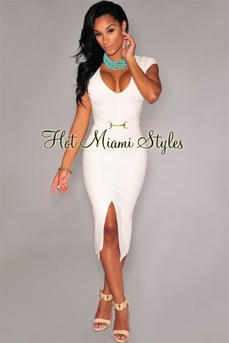 75d324ee2e Off-White Belted Front Slit Midi Dress Cheap Club Dresses