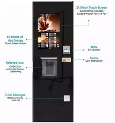 Automatic Fresh Espresso Coffee Vending Machine Features 21 5 Inch Infrared Touch Screen In 2020 Coffee Vending Machines Vending Machine Espresso Coffee