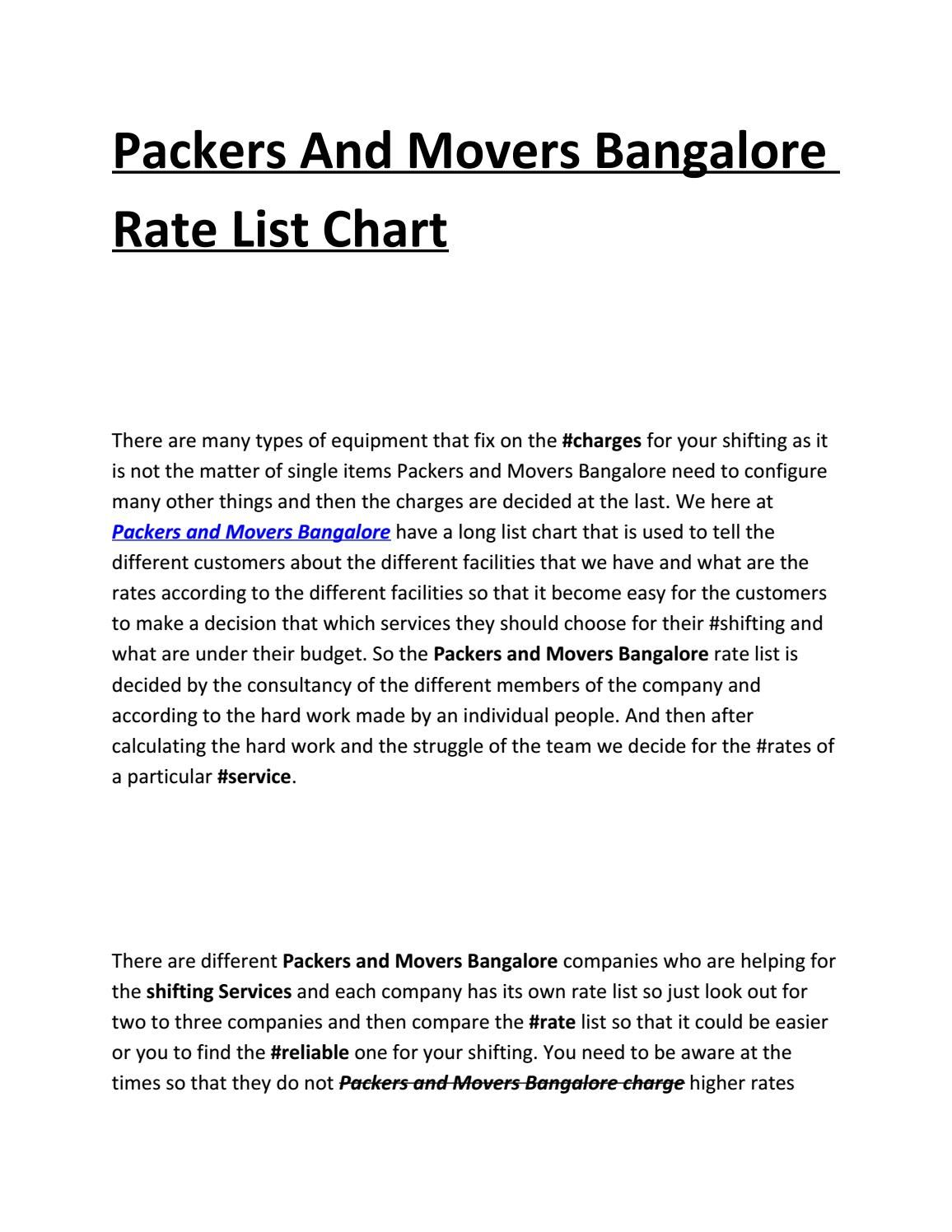 Packers And Movers Bangalore Rate List Chart  Packers And Newspaper