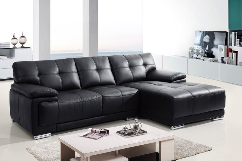 Modern Small Black Leather Sectional Sofa Couch Chaise Tuft Back