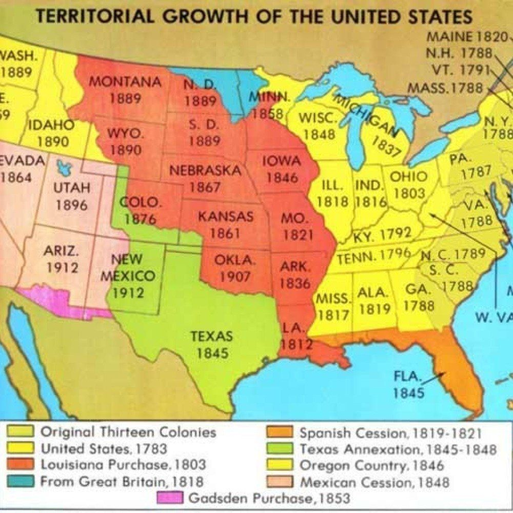 The United States Did Not Always Own All Of The Land That Makes Up The Country Today Much Of The Nation S Land Such As Florida Texas And Oregon