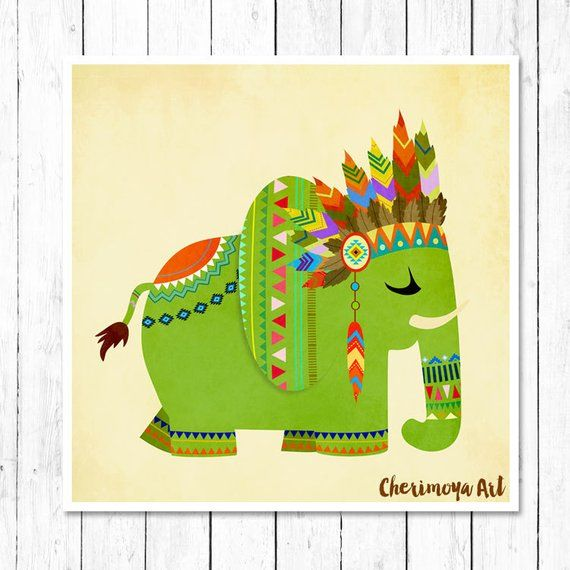 Tribal Elephant Print Kids Decor Nursery Decor Animal Art Elephant Art Print Toddler Gift Illustrati