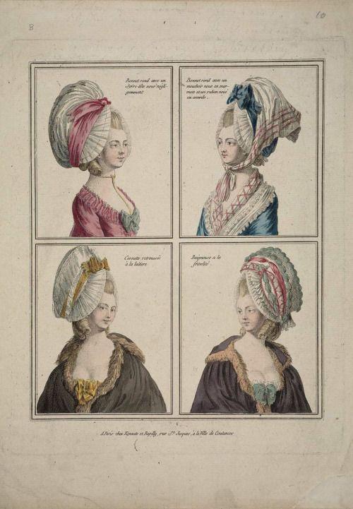 Bonnets, 1778 France, Gallerie des Modes et Costumes Français Row 1: Bonnet rond avec un Serre-tête noué négligemment, Bonnet rond avec un mouchoir noue en marmote et un ruban noué en cocarde (pretty catchy) Row 2: Cornette retroussée à la laitiere, Baigneuse a la frivolité