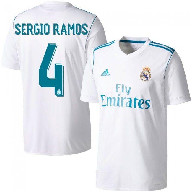 ad4d3cace9132 Camiseta del Real Madrid 2017-2018 Local + Sergio Ramos 4 (Dorsal Oficial)