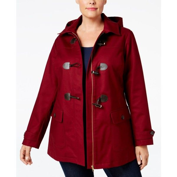 Charter Club Plus Size Toggle-Front Hooded Coat, ($135) ❤ liked on Polyvore featuring plus size women's fashion, plus size clothing, plus size outerwear, plus size coats, cranberry red, plus size toggle coat, plus size red coat, toggle button coat, hooded coat and red coat