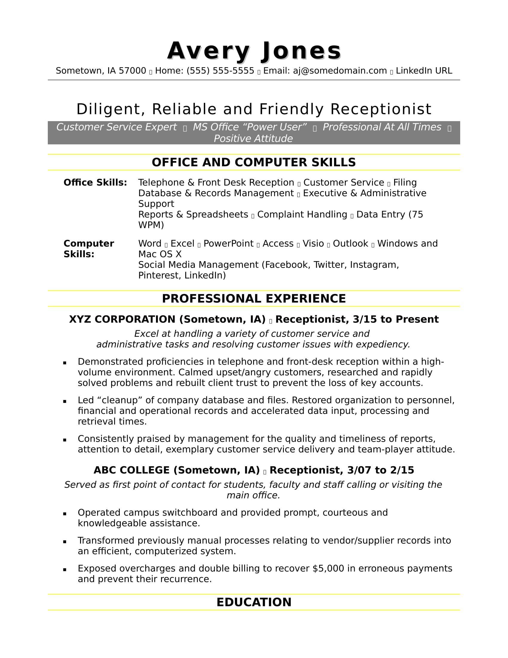 Free Receptionist Resume Sample Resume Skills Resume Examples Receptionist Jobs