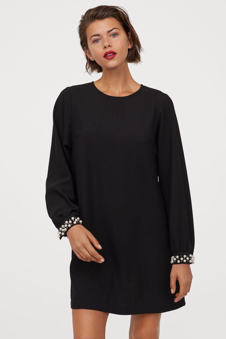 weites kleid - schwarz - ladies | h&m de | kleider, kleider