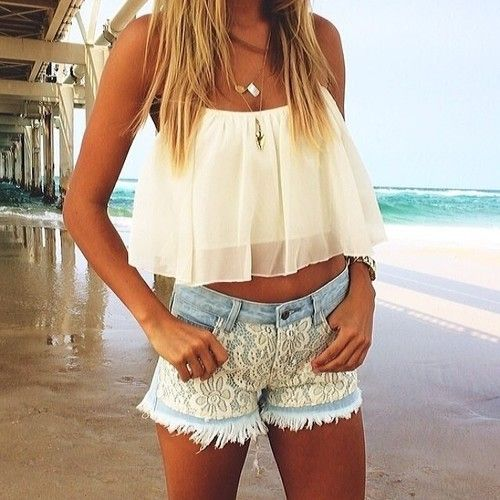 a1f5cc48a25a Spring   Summer Outfit - White Flowy Crop Top - Lace Shorts Loving this  casual outfit. I can wear this to anywhere, to college, shopping malls,  parties, ...