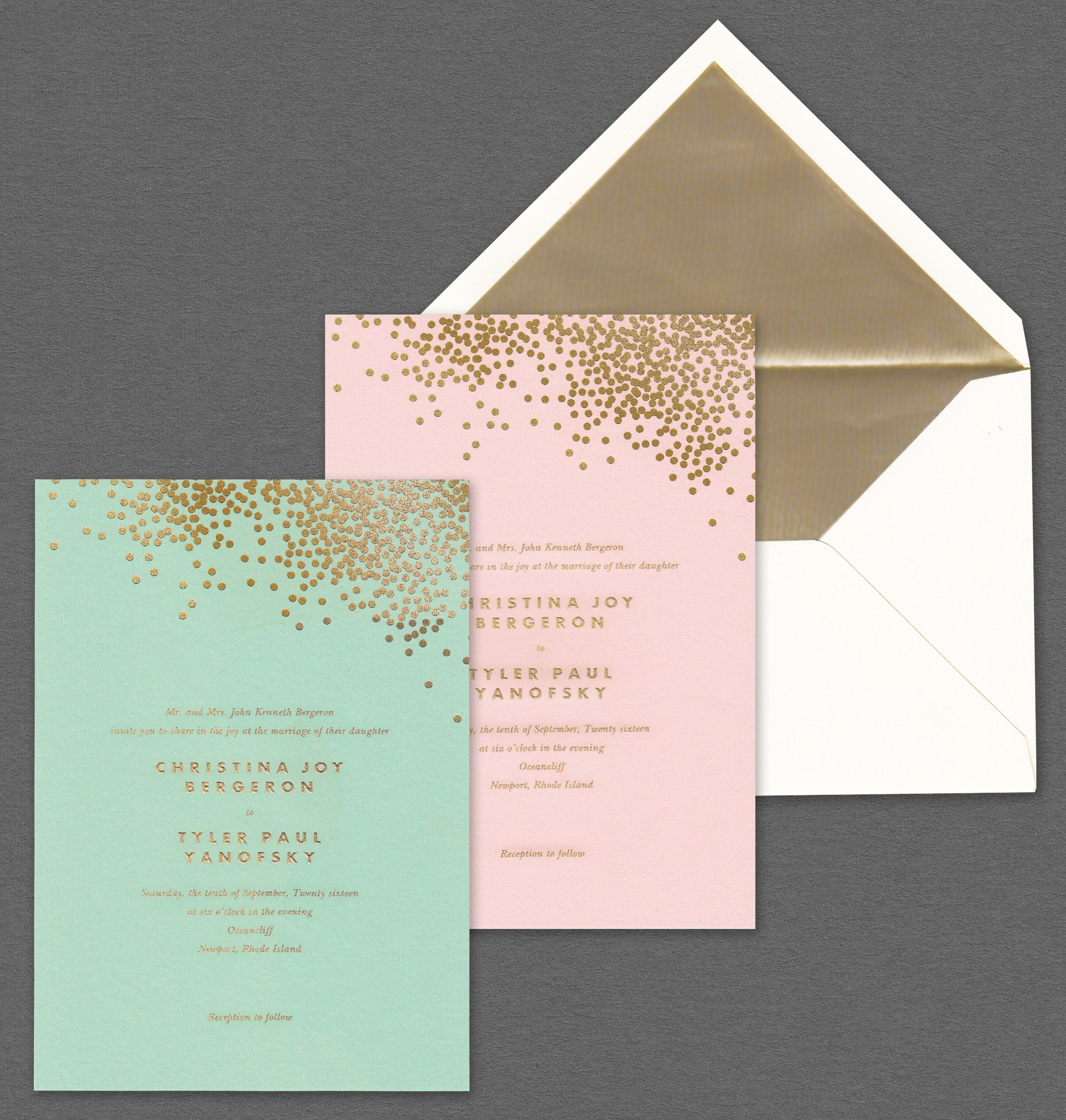 Vera Wang Mint And Blush Wedding Invitations With Gold Confetti.Available  At Honey Paper