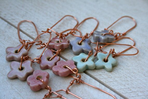 porcelain flower earrings by earthformsbymarie on Etsy