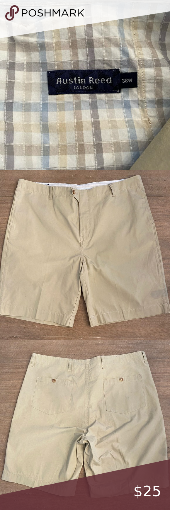 Austin Reed Shorts Austin Reed Khaki Shorts Flat Front Button Down Rear Pockets Size 38 Waist Gently Worn And Smoke Free Home Aus Austin Reed Austin Shorts