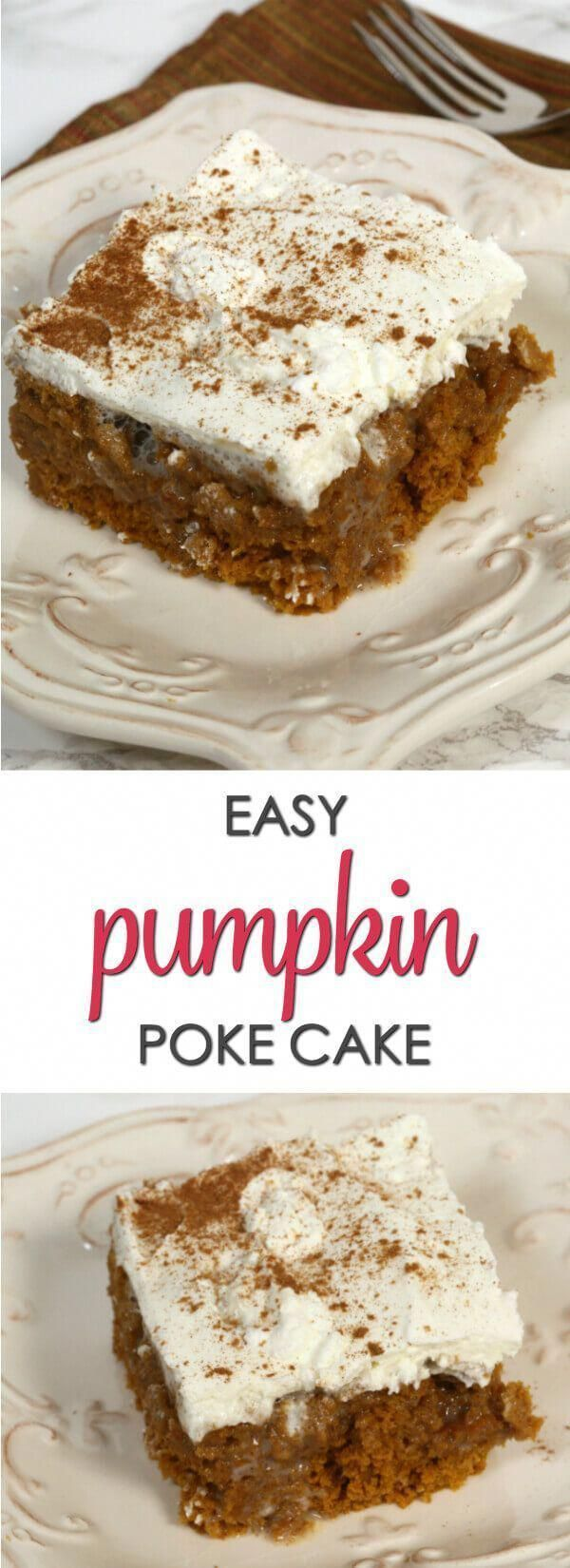 This is one of the best Pumpkin Poke Cake recipes with pockets of sweet, pumpkin..., #Cake #pockets #Poke #Pumpkin #Recipes #Sweet