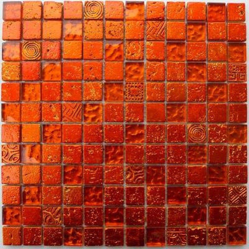 Carrelage Mosaique Verre Et Pierre 1 Plaque METALLIC ORANGE   Carrelage  Mosaique