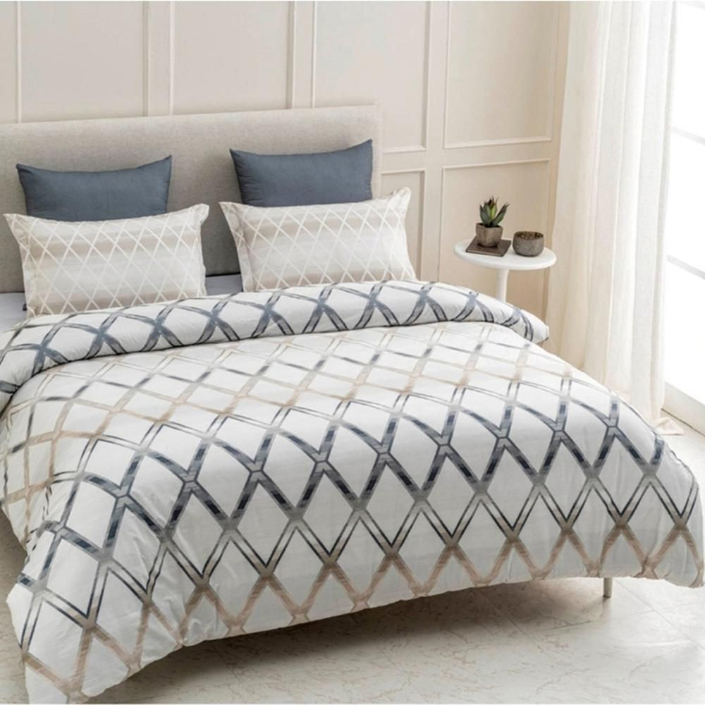 A1 Home Collections Geomania 3 Piece Beige Grey White Queen Duvet