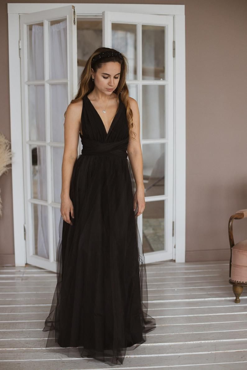Bridesmaid Dress With Tulle Skirt Black Infinity Dress Black Etsy Black Bridesmaid Dresses Long Black Bridesmaid Dresses Bridesmaid Dresses Plus Size [ 1191 x 794 Pixel ]