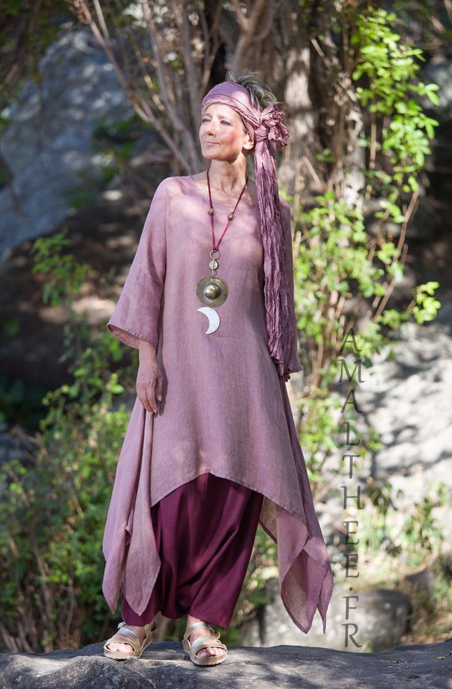 d5513e91f0c4 Rosewood and raspberry for this linen outfit...0ur loose fit linen gauze  Elke tunic makes a fruity mix with our sarouel skirt.