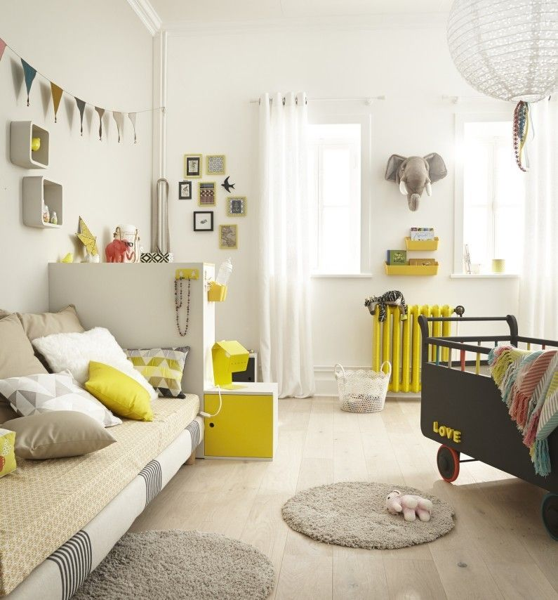 Chambre Enfant Blanc / Beige / Naturel Jaune / Orange SPACEO Autre ...
