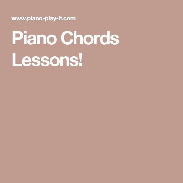 Piano Chords Lessons Sax Education Pinterest Music Theory